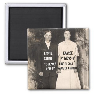 Vintage Picture of Bride and Groom Save the Date Fridge Magnet