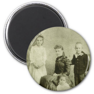 Vintage Picture of Four Siblings Refrigerator Magnet