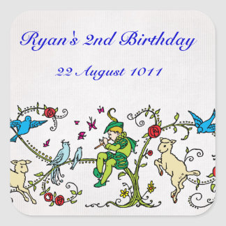 Vintage Pied Piper Personalized Birthday Square Sticker