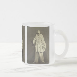 Vintage Pierrot Clown Frosted Glass Coffee Mug