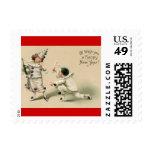 Vintage Pierrot Clown New Year Postage Stamp