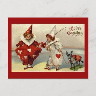 Vintage Pierrots Valentine Postcard postcard