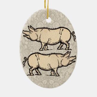 Vintage Pig Antique Piggy Illustration Ceramic Ornament