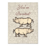 Vintage Pig Antique Piggy Illustration 4.5x6.25 Paper Invitation Card