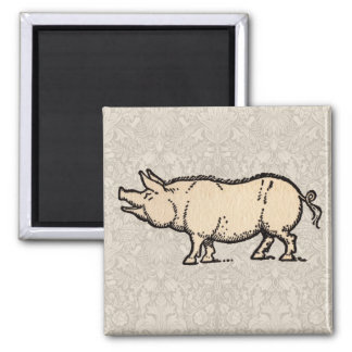 Vintage Pig Antique Piggy Illustration Magnet