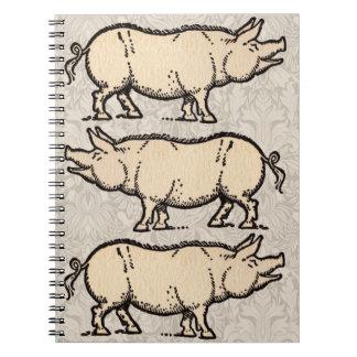 Vintage Pig Antique Piggy Illustration Spiral Notebook