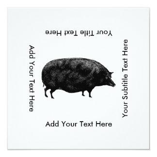 Vintage Pig Antique Print Card