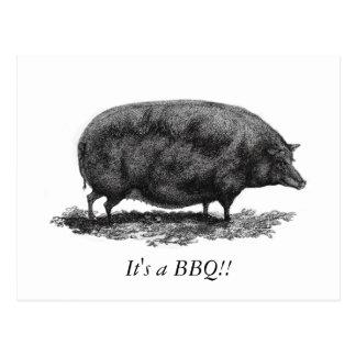 Vintage pig BBQ invitation card