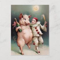 Vintage Pig Drinking New Year Postcard