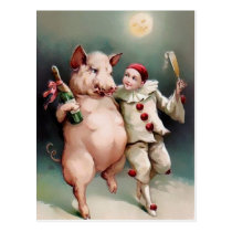 Vintage Pig Drinking New Year Postcard