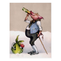 Vintage Pig Drinking Postcard