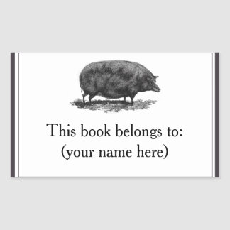 Vintage pig etching bookplate
