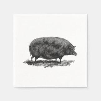 Vintage pig etching napkin