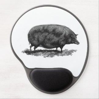 Vintage pig etching round mouse pad gel mouse pad