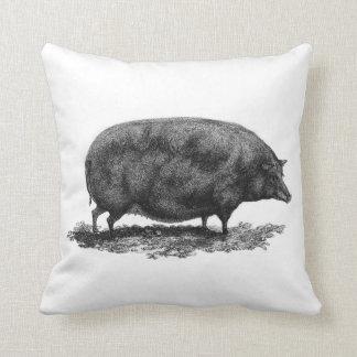 Vintage pig etching throw pillow