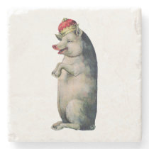 Vintage Pig King Illustration Stone Coaster