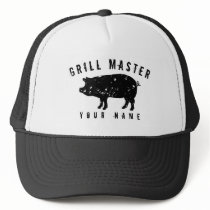 Vintage pig logo grill master hat for bbq king