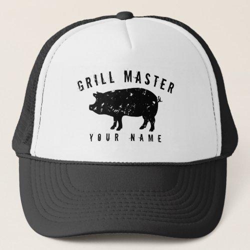 Vintage pig logo grill master hat for bbq king