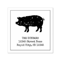 Vintage pig logo self inking return address stamps