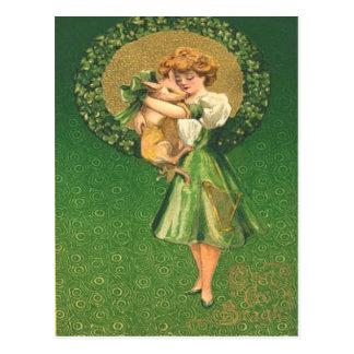 Vintage Pig Maiden Shamrock St Patrick's Day Card Postcard