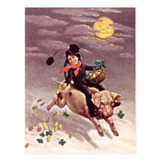 Vintage Pig Moon Gold Shamrock St Patrick's Day Postcard