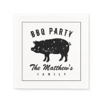 Vintage pig paper napkins for family BBQ party