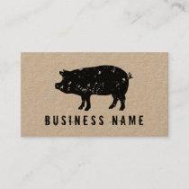 Vintage pig pork meat kraft business card template