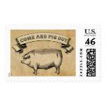 Vintage Pig Postage Stamp
