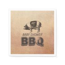 Vintage Pig Roast Baby Shower BBQ Napkins