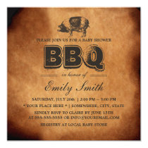 Vintage Pig Roast Baby Shower BBQ Party Invitation