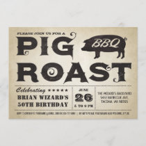 Vintage Pig Roast BBQ Birthday Invitation