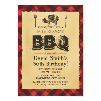Vintage Pig Roast BBQ Birthday Party 5x7 Paper Invitation Card