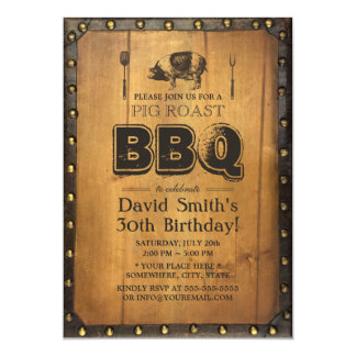 Vintage Pig Roast BBQ Dirty 30 Old Wood Birthday Card