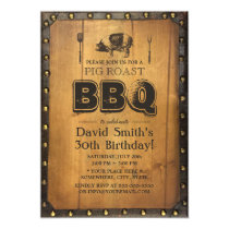 Vintage Pig Roast BBQ Dirty 30 Old Wood Birthday Invitation