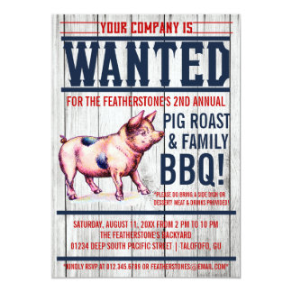 Vintage Pig Roast Family BBQ Invitations