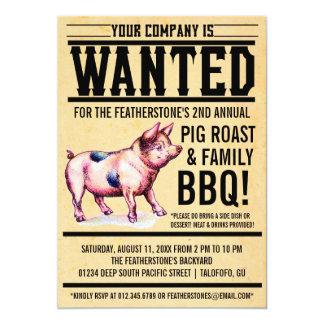 Vintage Pig Roast Family BBQ Invitations