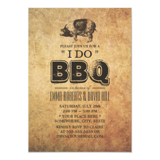 "Vintage Pig Roast ""I Do"" BBQ Wedding Card"