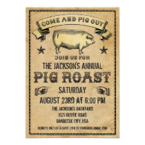 Vintage Pig Roast Invitation