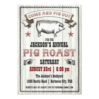 """Vintage Pig Roast Invitation on Wood 5"""" X 7"""" Invitation Card"""
