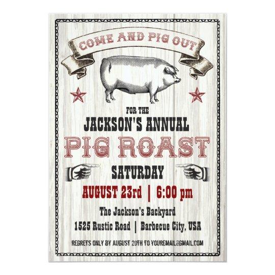 vintage pig roast invitation on wood zazzle com