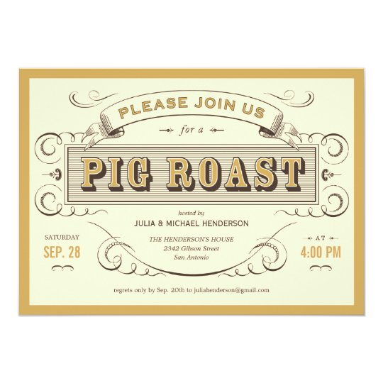Vintage Pig Roast Invitations
