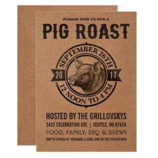 Vintage Pig Roast Invitations | Butcher Paper