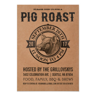 Vintage Pig Roast Invitations | Butcher Paper