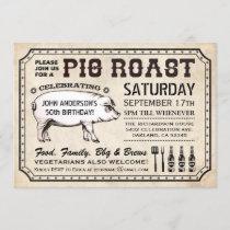 Vintage Pig Roast Invitations (Ticket Style)