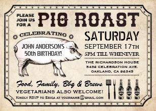 pig roast invitations zazzle