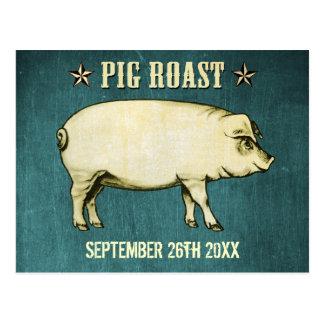 Vintage Pig Roast Postcard Invitation II (Blue) Post Cards