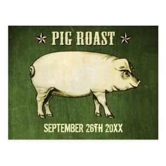 Vintage Pig Roast Postcard Invitation II (Green)