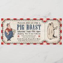 Vintage Pig Roast Ticket Invitations