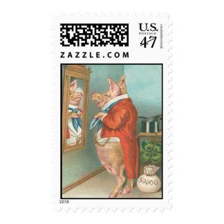 Vintage Pig Shamrock St Patrick's Day Card Postage