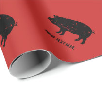 Vintage pig silhouette Birthday wrapping paper